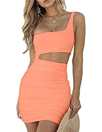 Women's Sexy One Shoulder Sleeveless Cutout Ruched...