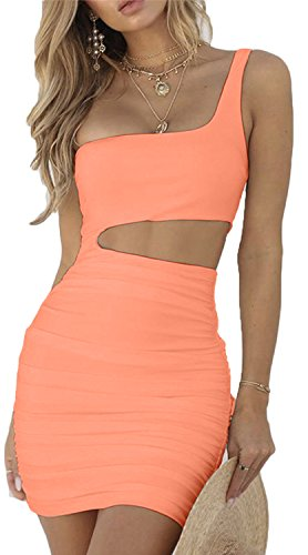 - CHYRII Women One Shulder Bodycon Ruched Sleeveless Sexy Short Club Dress Orange XS