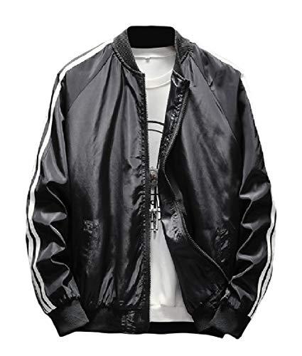Mogogo Men's Zipper Raglan Long-Sleeve Stand Collar Tops Outwear Jackets Black