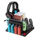 Charging Dock for Nintendo Switch Joy Cons, Pro Controller & Poke Ball Plus Controller, Multifunctional Switch Storage Rack Bracket Tower Holder Stand for Nintendo Switch and Switch Accessories, Black (Color: Black)