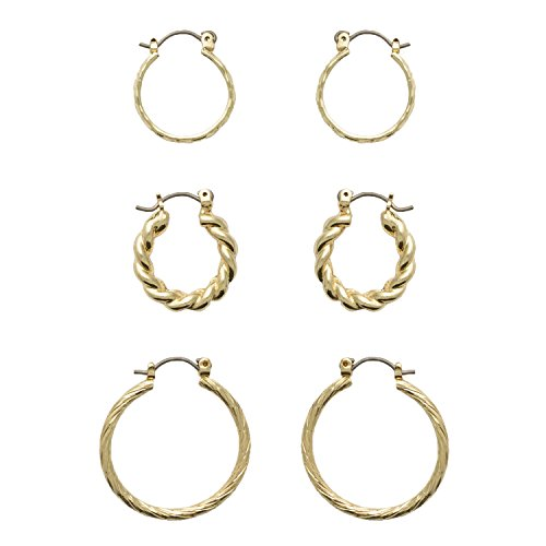 Neoglory Jewelry for Sensitive Ears Fine Gold Color Plated Trio Hoop Earring Set - Trio Hoop Earrings Set