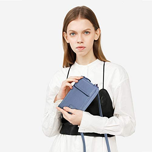 S-ZONE Peque/ño Bolso para Mujer de Cuero de la PU del Tel/éfono Celular Crossbody Phone Wallet Bolsa con Cremallera Bandolera Monedero con Ranuras para Tarjeta Azul menta