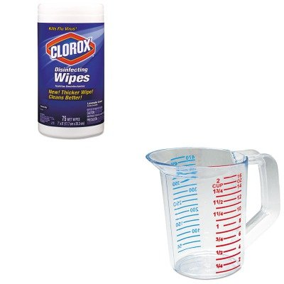 KIT - Value Kit - -Clear Bouncer Measuring Cups 1 Pint (RCP3215CLE) and Clorox Disinfecting Wipes (COX01761EA) - Rubbermaid COX01761EARCP3215CLE