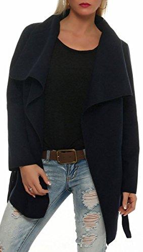 malito elegante corto Abrigo con Cascada Noble Capote Manteo Gabán Chaqueta Envolver Bolero 3031 Mujer One Size azul oscuro