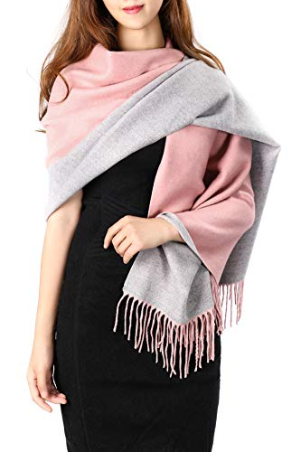 (Gray Pink Stole Scarf for Women, Thick Warm Pashmina Shawl, Cashmere Feel 2 Tone Oversized Cozy Winter Wool Wrap Blanket 73'' x 26'')