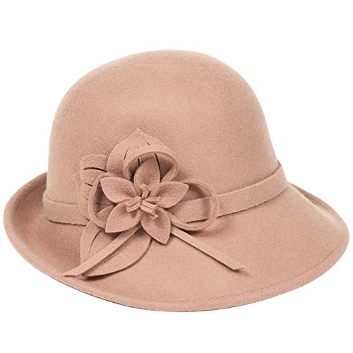 BABEYOND Womens 1920s Bucket Hat Winter Wool Crushable Bowler Hat Vintage Cloche Round Hat with Floral Accent (Camel) ()