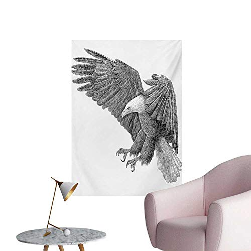 Anzhutwelve Eagle Art Stickers Black and White Pencil Drawing Style Eagle with Detailed Features Wild NatureBlack Grey White W24 xL32 Wall - Eagle Fighters Foo