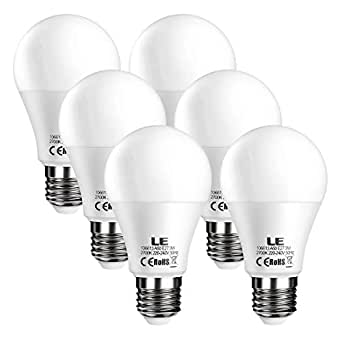 LE Bombillas LED E27 9W = 60W Incandescente, Blanco cálido 2700K, Pack de 6