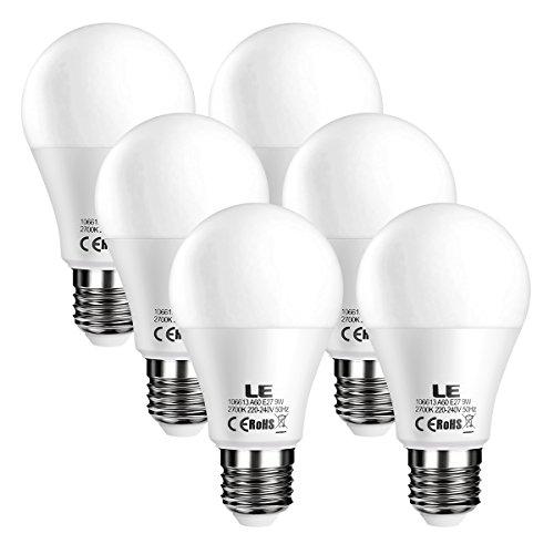LE E27 LED Bulbs 60W Equivalent 9W, 800lm A60 ES Globe Edison Screw LED...