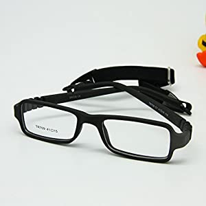 EnzoDate Baby Eyeglasses & Strap Size 41/15, Rectangle Children Glasses Frame with Elastic Cord, Flexible One-piece Frame & Band Retainer (black)