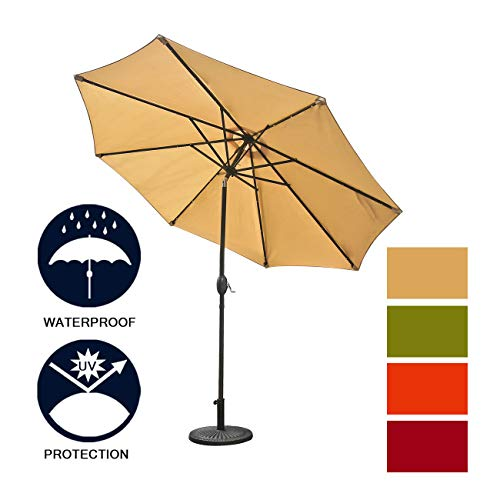 Aok Garden 9Ft Patio Outdoor Umbrella Market Table Fade-Resistant Umbrella with Push Button Tilt and Crank for Garden Backyard Deck, Sand