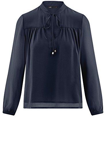 oodji Mousseline Liens Collection Nouer Ample Coupe Femme 7900n Blouse avec Bleu en 6w6prq1