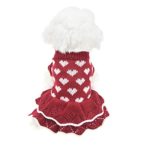 MUYAOPET Small Dog Sweaters Female Girl Red Winter Warm Dog Princess Dress Clothes Dachshund Chihuahua Corgi (XL(Bust 19.6inch), Red Heart)]()