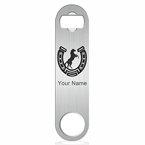 (Bottle Opener, Horseshoe with Horse, Personalized Engraving Included (Stainless Steel))