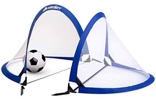 Collapsible Soccer Goal Set of 2 with Travel Bag - Ultra Portable 4 Foot Instant Pop Up Football Goal Nets for The Beach| Playground | Backyard | Camping - Kids - Outdoor All Kit Travel Terrain