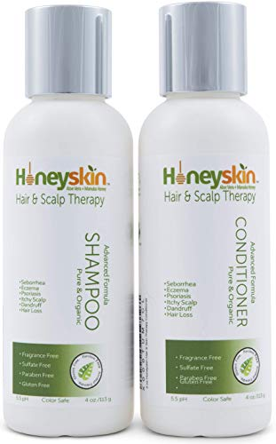 (Hair Growth Shampoo and Conditioner Set - with Manuka Honey, Aloe Vera and Coconut Oil - for Frizzy, Itchy and Dry Scalp - Hair Loss and Thinning Treatment - Paraben and Sulfate Free (4oz))