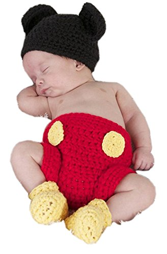 Pinbo Newborn Photography Prop Baby Costume Crochet Mouse Hat Cap Diaper Shoes
