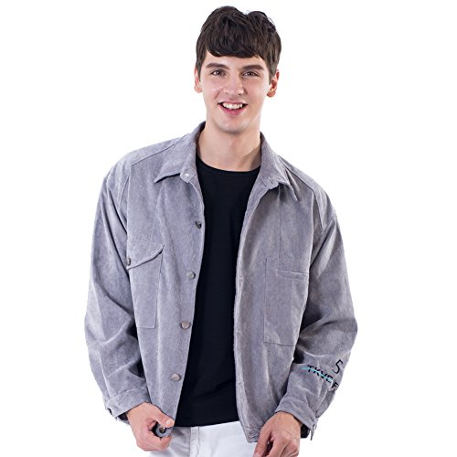 Nylon Vintage Coat - Mens Corduroy Western Denim Jacket Retro Vintage Beige Coat XL Grey