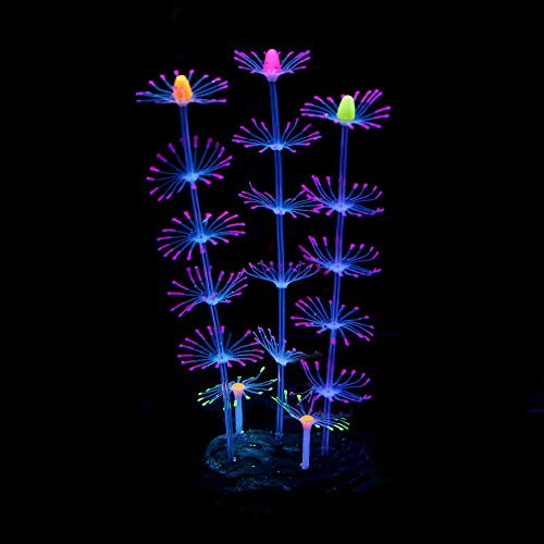 QSSTECH Glowing and Moving Silicone Coral Plant for Fish Tank, Aquarium Decorations, Fish Tank Decor for Fishkeepers of Freshwater Fish Neon Tetra Guppies Oscars Fish etc, and Saltwater Fish (Purple)