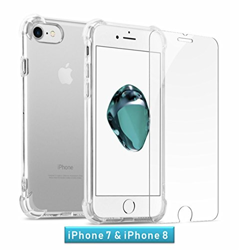 GuaGua Case Compatible with iPhone 7, iPhone 8 and Tempered Glass | 360 Protection - Shock Absorption Bumper | Soft TPU Cover Skin Cases for iphone 7/8 | Built-in Screen Protector Clear by GuaGua (Image #1)