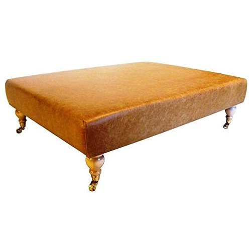 Large Coffee Table Upholstered in Aged Ash Leather by (Ash Upholstered Table)