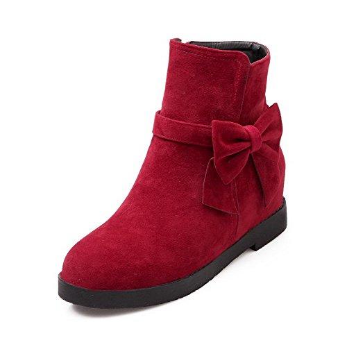 AgooLar Women's Frosted Solid Zipper Round-Toe Kitten-Heels Boots Red