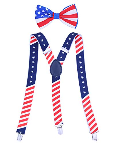 Buha Suspenders for Men, 2 in 1 Suspenders and Bow Tie, Mens Outfits Casual Suspender and Bow Tie Special Edition (American Flag)