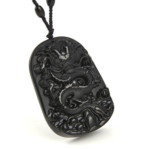HZMAN Jewelry Hand Carved Natural Genuine Obsidian Chinese Dragon Pendant necklace - Symbol Emperor