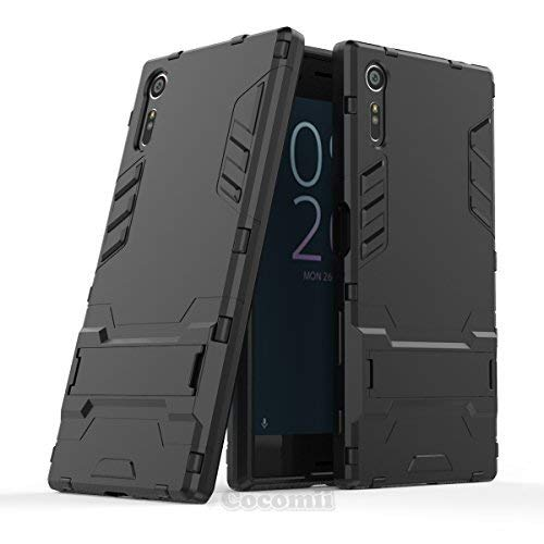 Cocomii Iron Man Armor Sony Xperia XZ/XZs Case NEW [Heavy Duty] Premium Tactical Grip Kickstand Shockproof Bumper [Military Defender] Full Body Dual Layer Rugged Cover for Sony Xperia XZ (I.Jet Black) (Sony Xperia Cell Phone Case)