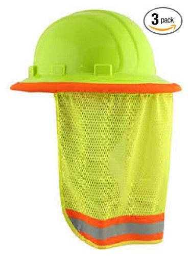 Price comparison product image 3 / PACK - Neck Sun Shield For Hard Hats Hi Visibility Mesh - Hi Viz Lime