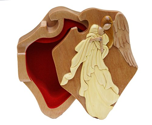 Madera Bonita! Praying Angel Puzzle Box red Felt Lined Interior