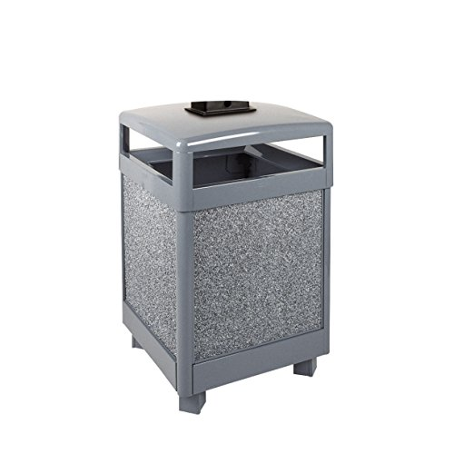Rubbermaid Commercial Products FGR48HTWU2000PL Aspen Series Refuse Receptacle with Weather Urn (Hinged Top, (Series Weather Urn)