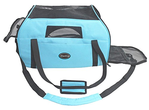 Maxshop Outdoor Portable Pet Carrier,Soft Sided Dog Cat Carrier Airlin Approved Travel Bag (Blue)