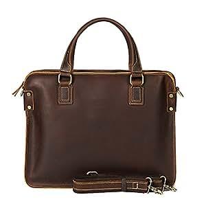 Genda 2Archer Men's Crazy Horse Leather Retro Briefcase Messenger Single Shoulder Bag One_Size Coffee