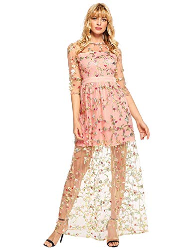 DIDK Women's A Line Floral Embroidery Mesh Sheer Evening Cocktail Dress Pink -