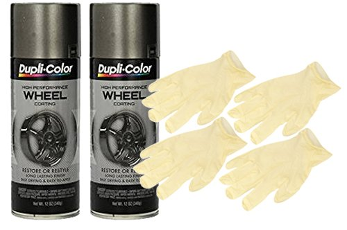 Dupli-Color Graphite High Performance Wheel Paint (12 oz) Bundle with Latex Gloves (6 Items)