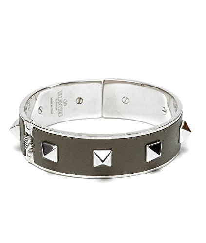 Wiberlux Valentino Women's Silver Stud Detail Steel Cuff Bracelet One Size Olive by Wiberlux (Image #1)