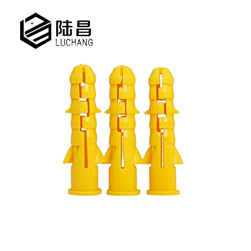 Ochoos 200pcs M6 M8 M10 Yellow Ribbed Plastic Anchor Wall Plastic Expansion Pipe Tube Wall Plugs Drywall - (Specification: M10, Length: 80mm)