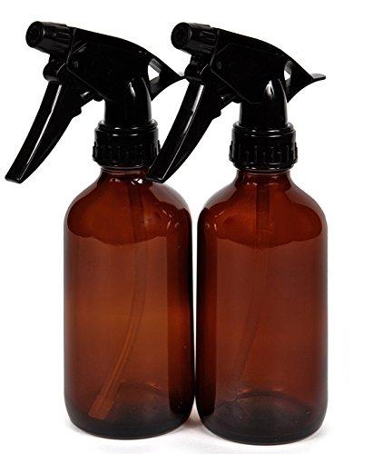 Vivaplex, 2, Large, 8 oz, Empty, Amber Glass Spray Bottles with Black Trigger Sprayers