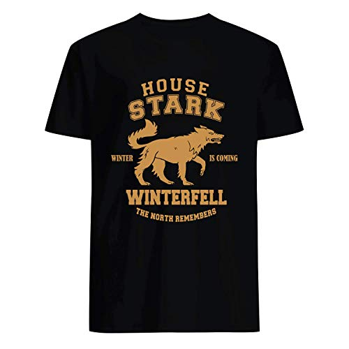 USA 80s TEE Winter is Coming House Stark The North Remembers Shirt Black]()