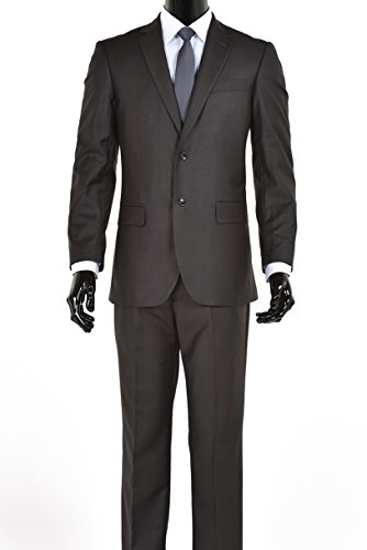 Elegant Mens Charcoal Gray Two Button Three Piece Suit (52 REGULAR) (Charcoal Two)