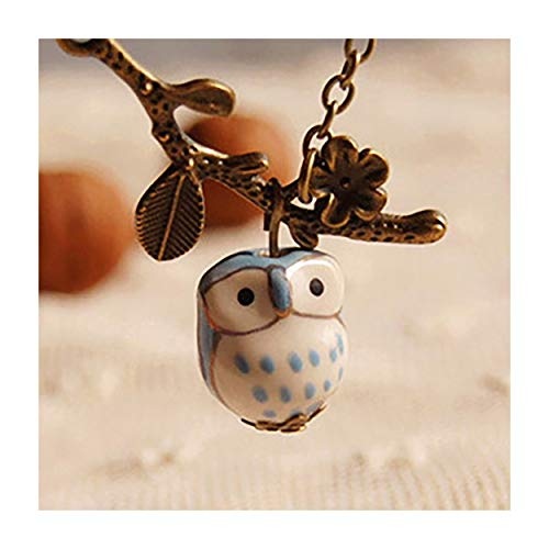 MIXIA Lovely Ceramic Tree Branch Twig Owl Necklaces & Pendants for Women Handmade Bird Vintage Jewelry Girl Accessories (Blue) - Twig Jewelry Tree