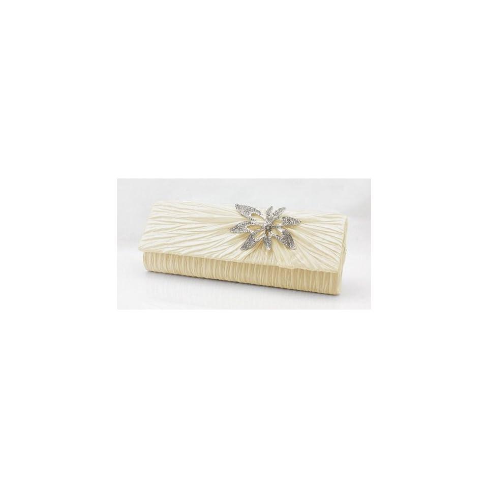 Clutch Purse with Rhinestone Flower Brooch Pin