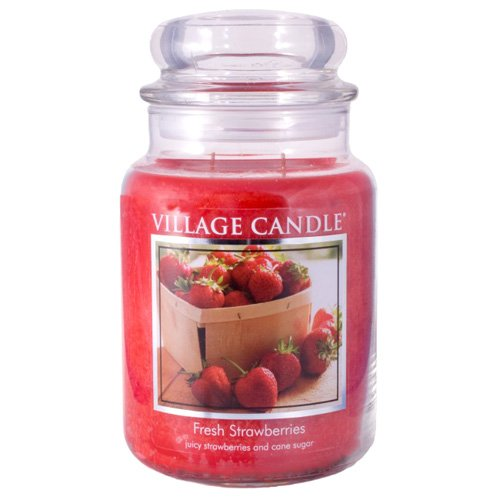 (Village Candle Fresh Strawberries 26 oz Glass Jar Scented Candle, Large)