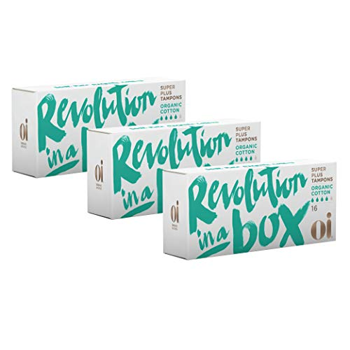 Oi Certified Organic Cotton Tampons | 3 Boxes of 16 Super Plus Tampons | Non-Applicator