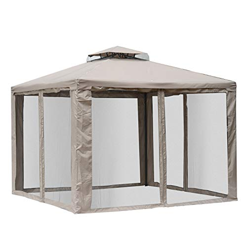 Outsunny 10' x 10' Steel Fabric 2.95m /9.7' Outdoor Patio Gazebo Pavilion Canopy Tent Steel 2-Tier Roof with Netting Square Outdoor Gazebo with Mosquito Netting - - Net With Picnic Tent