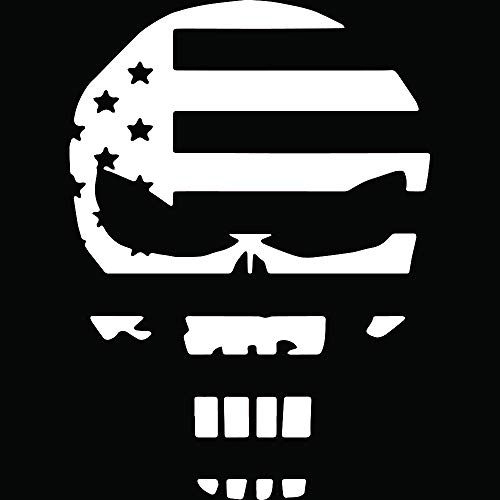 ANGDEST US Army Chris Kyle American Flag Skull (White) (Set of 2) Premium Waterproof Vinyl Decal Stickers for Laptop Phone Accessory Helmet Car Window Bumper Mug Tuber Cup Door Wall Decoration ()