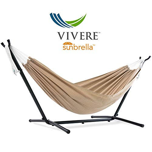 Vivere  Double Sunbrella Hammock with Space Saving Steel Stand, Sand (450 lb Capacity - Premium Carry Bag Included) (Aluminum Furniture Patio Cast Sling)