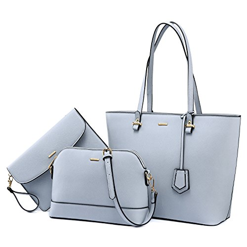 Handbags for Women Tote Bag Shoulder Bags Fashion Satchel Top Handle Structured Purse Set Designer Purses 3PCS PU Stand Gift Light Blue ()