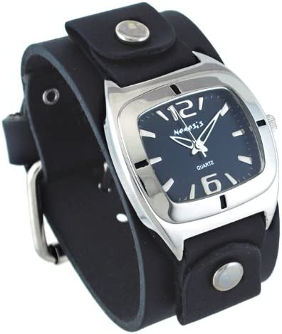 Nemesis GB090K Unisex Retro Collection Shorter Length Wide Leather Cuff Band Watch